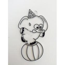 Sablon plastic de colorat - Elefantul acrobat