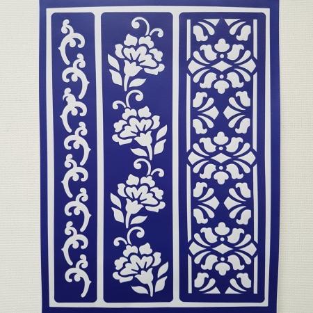 Sablon autoadeziv - Borduri florale