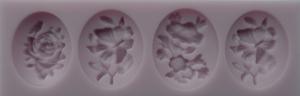 Mulaj din silicon, 4 medalioane florale