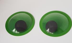 Ochi mobili - verzi glitter 10cm