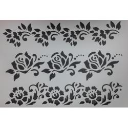 sablon din plsatic flexibil 21x31cm grosime 0,5mm decorare hobby diy boduri cu flori