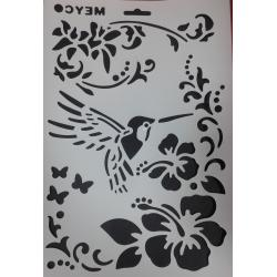 sablon din plastic flexibil 21x31cm grosime 0,5mm decorare hobby diy colibri